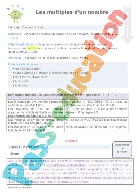 Séquence - Fiche de préparation Multiples : CM1 - Cycle 3 ...