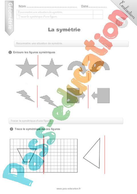 Symétrie axiale : CM1 - Cycle 3 - Exercice évaluation révision leçon - Pass Education
