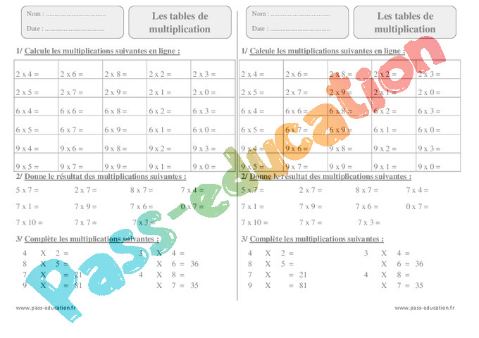 Tables De Multiplication Ce2 Cycle 2 Exercice Evaluation