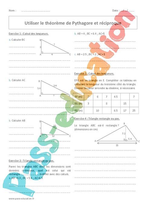 Théorème de Pythagore : 4ème - Exercices cours évaluation ...