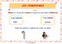 Affichage pour la classe Vocabulaire Homonymes, homophones : CE1