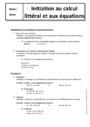 Cours Calcul littéral : 5ème
