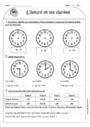 Exercice Temps et durée heure, minute, seconde : CE1