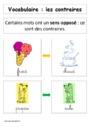 Leçon et exercice : Mots de sens contraire : CP