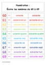 Leçon et exercice : Nombres de 60 à 69 : CP
