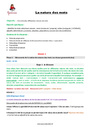 Séquence - Fiche de préparation Nature et fonction : CM2