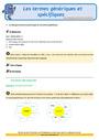Révision, soutien scolaire - Mots étiquettes / termes génériques et particuliers : CM2