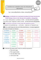 J'enrichis mon vocabulaire autour du champ lexical des émotions. – Cours, Leçon : 5eme Primaire