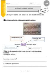 Je comprends un article du dictionnaire. – Exercices à imprimer : 2eme Primaire