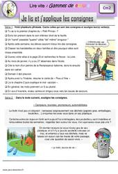 Je lis et j'applique les consignes – Gamme de lecture : 5eme Primaire