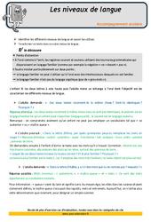 Les niveaux de langue – Soutien scolaire – Aide aux devoirs : 4eme Primaire