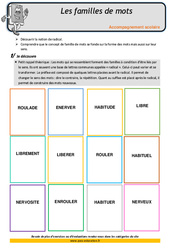 Les familles de mots – Soutien scolaire – Aide aux devoirs : 4eme Primaire