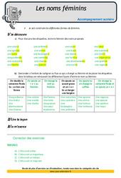 Noms féminins – Soutien scolaire – Aide aux devoirs : 5eme Primaire