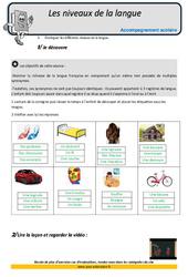 Niveaux de la langue – Soutien scolaire – Aide aux devoirs : 5eme Primaire