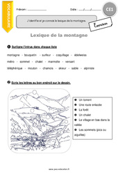 Lexique de la montagne – Exercices à imprimer : 2eme Primaire