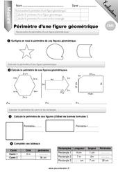 Périmètre d'une figure géométrique – Examen Evaluation – Bilan : 4eme Primaire