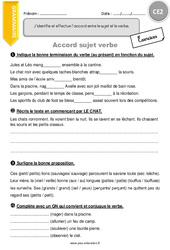Accord sujet verbe – Exercices à imprimer : 3eme Primaire