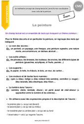 Champ lexical et vocabulaire de la peinture – Cours, Leçon : 5eme Primaire