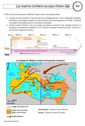 Empires chrétiens du Haut Moyen Âge- Fiches Empire carolingien – Empire byzantin – Cours – Histoire : 6eme Primaire