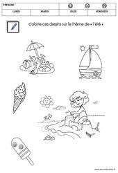 Coloriage sur le thème de « l'été » : 2eme Maternelle – Cycle Fondamental
