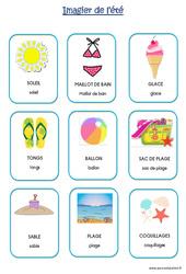 Imagier sur le thème de « l'été » en deux polices : 2eme Maternelle – Cycle Fondamental
