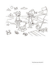 Coloriage «A la plage» – Été : 1ere, 2eme, 3eme Maternelle – Cycle Fondamental