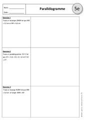 Parallélogramme – Exercices corrigés : 1ere Secondaire