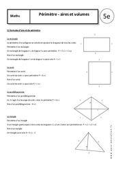 Périmètres – Aires – Volumes – Cours : 1ere Secondaire