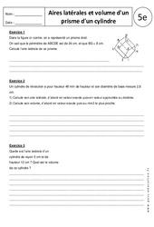 Aire latérale et volume d'un prisme – Exercices corrigés : 1ere Secondaire