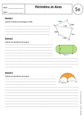 Périmètres – Aires – Calculs – Exercices corrigés : 1ere Secondaire