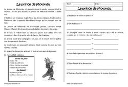 Le prince de Motordu – Récit – Lecture compréhension : 2eme Primaire