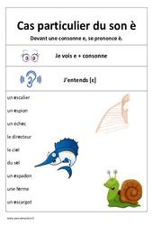 Son è – Devant une consonne – Affiche pour la classe : 1ere, 2eme Primaire