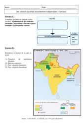 Des colonies aux états nouvellement indépendants – Exercices corrigés : 3eme Secondaire