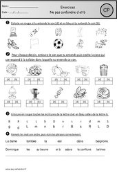 Ne pas confondre d et b – Exercices – Etude des sons : 1ere Primaire
