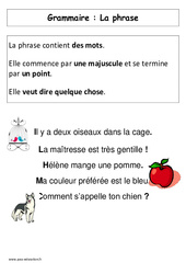 La Phrase – Affiche pour la classe – Grammaire : 1ere Primaire