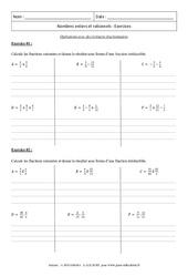 Opérations avec des écritures fractionnaires – Révisions : 3eme Secondaire