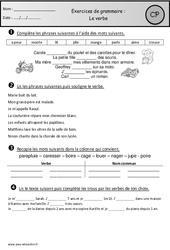 Verbe – Exercices – Grammaire : 1ere Primaire