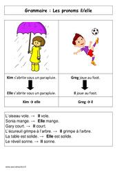 Les pronoms il – elle – Affiche pour la classe – Grammaire : 1ere Primaire