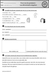 Déterminants singuliers – Exercices – Grammaire : 1ere Primaire