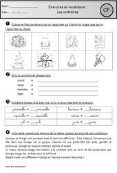 Contraires – Exercices – Vocabulaire : 1ere Primaire