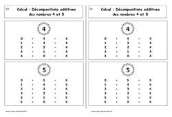 Décompositions additives des nombres 4 et 5 – Cours, Leçon : 1ere Primaire