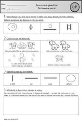 Exercices – Dictionnaire spatial – Géométrie : 1ere Primaire