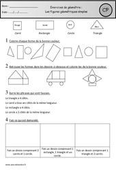 Carré, rectangle, triangle et rond – Exercices – Figures géométriques simples : 1ere Primaire