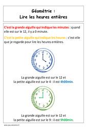 Lire les heures entières – Affiche pour la classe – Grandeurs et Mesures : 1ere Primaire