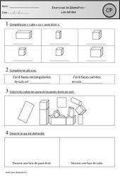 Exercices – Solides – Géométrie : 1ere Primaire