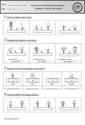 Exercices – Comparer le poids des objets : 1ere Primaire