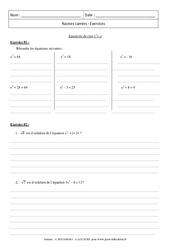 Equations du type x2= a  Exercices – Exercices – Racines carrées : 3eme Secondaire
