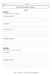 Synthèse – Calcul littéral et équations – Révisions : 3eme Secondaire