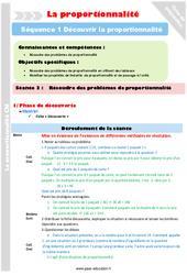 Résoudre des problèmes de proportionnalité – Séance 3 – Proportionnalité – Séquence 1 : 4eme, 5eme Primaire