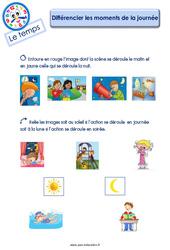 Différencier les moments de la journée – Le Temps : 2eme Maternelle – Cycle Fondamental